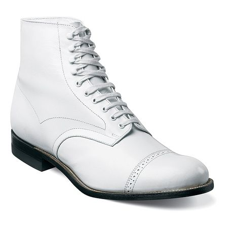 Stacy Adams White Original Madison Boots 1920s Style 00015-100