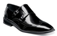 Stacy Adams Black Dress Shoes 2 Buckle Leather 25055-001 OS