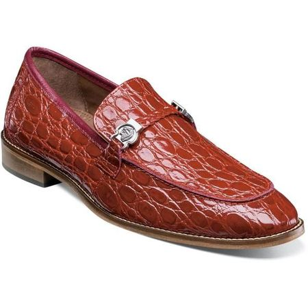 Stacy Adams Shoes Red Gator Texture Loafer 25322-600