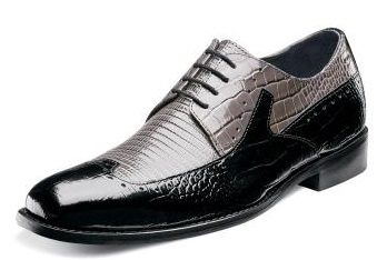 Stacy Adams Shoes Black Grey Lizard Print Wingtip Portello 24872-975