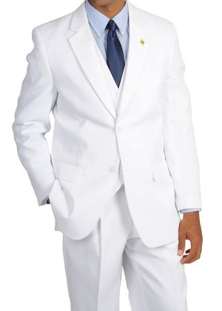 Stacy Adams Mens White 3 Piece Suny Vest Suit 4016-007  - click to enlarge