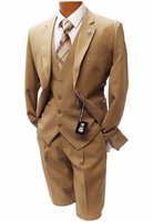 Stacy Adams Mens Solid Tan 2 Button 3 Piece Suit Suny 4016-448