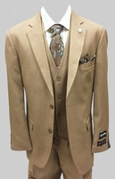 Stacy Adams Mens Solid Tan 3 Piece Suit Suny 4016-448