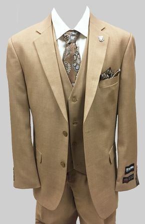 Stacy Adams Mens Solid Tan 3 Piece Suit Suny 4016-448 - click to enlarge