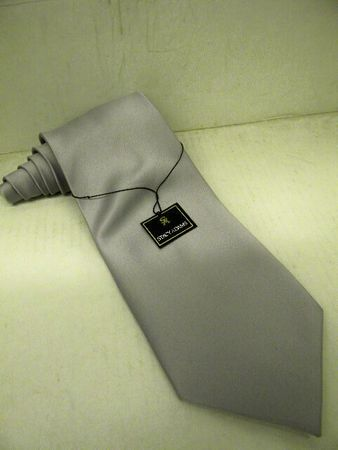 Stacy Adams Solid Silver Microfiber Neck Tie and Hanky Set
