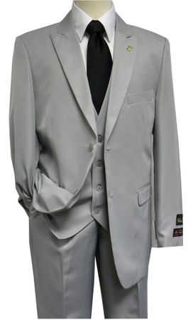 Falcone 3 Piece Fashion Suit Vett Vested Light Grey 3869-001 OS