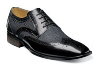 Stacy Adams Spectator Shoes Mens Black Linen Fabric Wingtip 2 Tone 25191-009