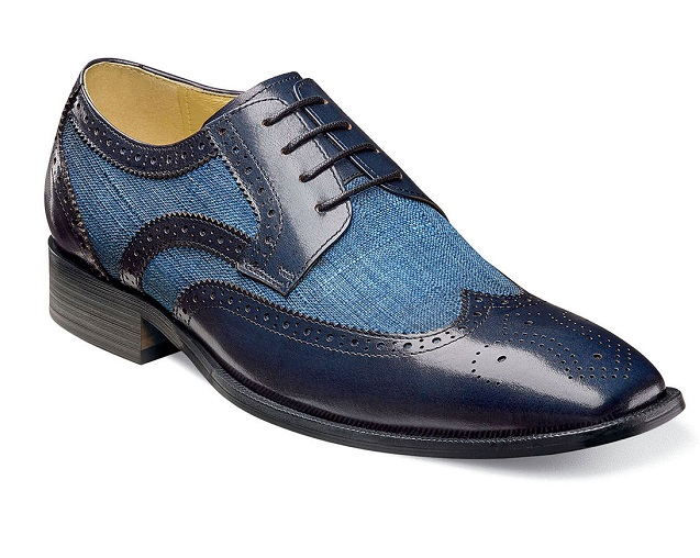 Stacy Adams Spectator Shoes Mens Blue Fabric Wingtip Two Tone 25191-460 9419b4ebfd7