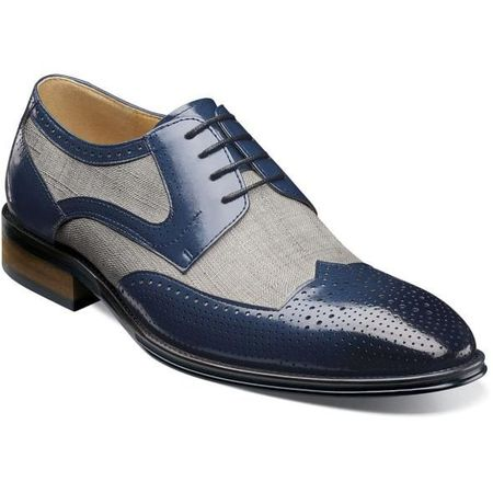 Stacy Adams Spectator Shoes Mens Blue Fabric Wingtip Two Tone 25191-460 OS