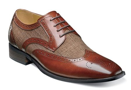 Stacy Adams Spectator Shoes Mens Cognac Linen Wingtip Two Tone 25191-238 - click to enlarge