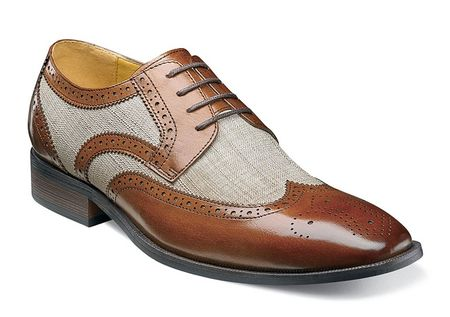 Stacy Adams Spectator Shoes Mens Tan Linen Wingtip Two Tone 25191-282