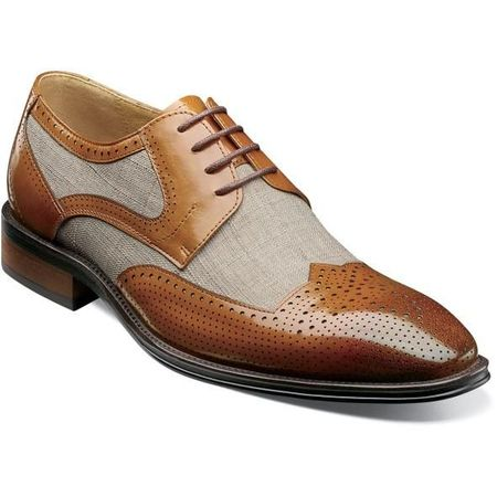 Stacy Adams Spectator Shoes Mens Tan Linen Wingtip Two Tone 25354-282 OS