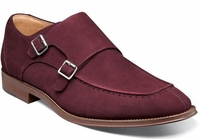 Stacy Adams Red Suede Double Monk Strap Shoes 25225-603