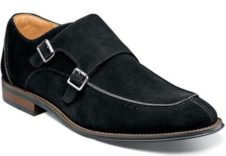 Stacy Adams Black Suede Double Monk Strap Shoes 25225-008