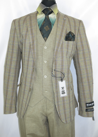 Stacy Adams Suit Mens 3 Piece Beige Plaid County Trio 5998-743 - click to enlarge