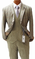 Stacy Adams Suit Mens 3 Piece Beige Plaid County Trio 5998-743