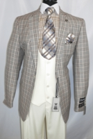 Stacy Adams Suit Mens 3 Piece Beige Plaid Dap Trio 5978-750