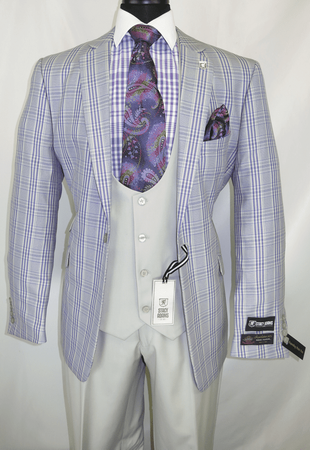 Stacy Adams Suit Mens 3 Piece Lavender Plaid Dap Trio 5978-719