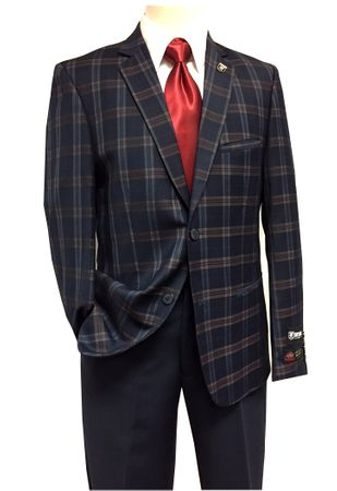 Stacy Adams Suits Mens Blue Plaid 2 Piece Ensemble Brandi 5952 IS - click to enlarge