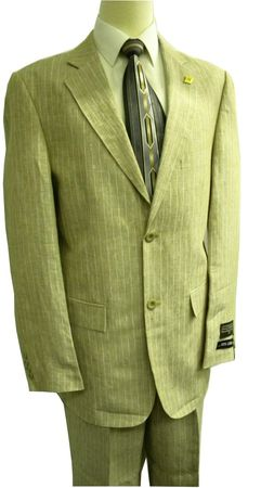 Stacy Adams Taupe Pinstripe Linen Suit 3829-018 Size 50L Final Sale - click to enlarge