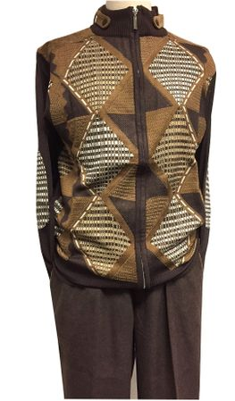 Stacy Adams Sweater Outfit for Men Brown Fancy Pattern 3348