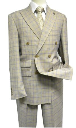 Mens Stacy Adams Beige Plaid 1940s Fancy Double Breasted Suit 5748-758 IS