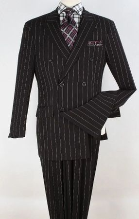 Falcone Men Black Stripe 1940s Double Breasted Suit 3580-000 IS