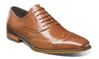 Stacy Adams Tan Leather Wingtip Shoes Tinsley 25092-240