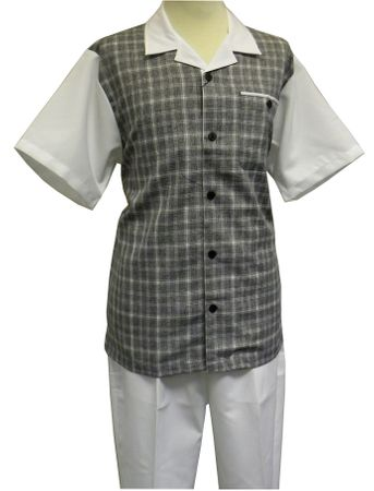 Stacy Adams White Gray Rayon Casual Two Piece Walking Suit 9558