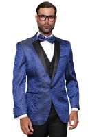 Stage Performer Suit Blue Paisley Sequin Paisley-200 3pc
