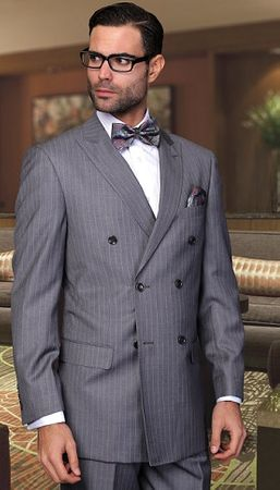 Statement Men's Charcoal Pinstripe Wool Double Breasted Suits SD-300 size 42L Final Sale