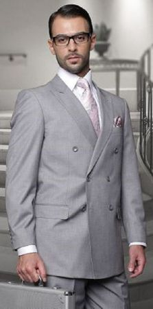 Statement Gray Italian Wool Double Breasted Suits TZD-100 size 48R Final Sale