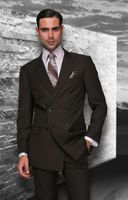 Mens Fine Wool Brown Double Breasted Suits By Statement TZD-100 Size Size 48 Reg Final Sale
