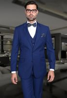 Statement 100% Wool Tailored Fit 3 Piece Suit Sapphire STZV-100