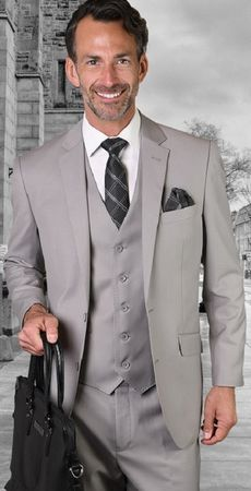 Statement 100% Wool Modern Fit Platinum 3 Piece Suit STZV-100