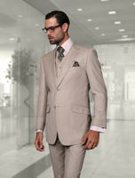 Statement 100% Wool Tailored Fit Sand 3 Piece Suit STZV-100
