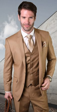 Statement 100% Wool Tailored Fit Caramel 3 Piece Suit STZV-100