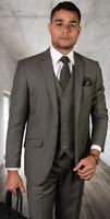 Statement All Wool Tailored Fit 3 Piece Suit Sage STZV-100