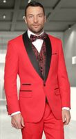 Statement Red Color Modern Fit 3 Piece Red Carpet Suits Capri