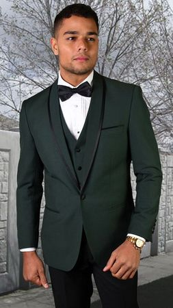 Statement Hunter Green Young Mens Slim Fit Wool Tuxedo Genova