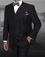 Statement Black Grey Plaid 3 Pc. Suit Italian Wool Regular Fit TZ-946 IS
