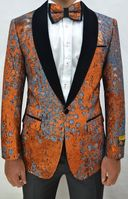Rust/Black Velvet Floral Pattern Tuxedo Jacket Alberto Paisley-300  Size 46R Final Sale