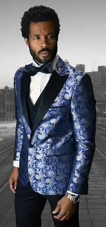 Mens Designer Modern Fit Fashion Suit Royal Blue Trendy Tux Statement Bellagio-4