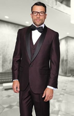 Statement Plum Modern Fit 3 Piece Shawl Collar Tuxedo Enzo-1 - click to enlarge