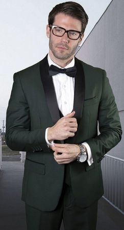 Statement Mens 3 Piece Hunter Green Shawl Collar Modern Fit Tuxedo TUX-SH