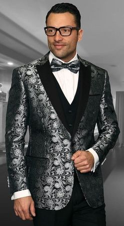 Mens Designer Modern Fit Fashion Suit Black Trendy Tux Statement Bellagio-4