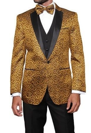 Statement Gold 3 Piece Entertainer Tuxedo Modern Fit Bellagio