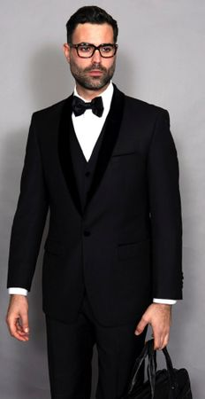Statement Mens Black Modern Fit Tuxedo Encore-V