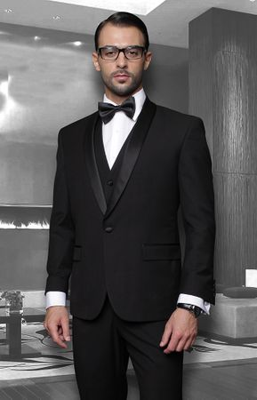 Statement Mens 3 Piece Shawl Collar Modern Fit Tuxedo TUX-SH