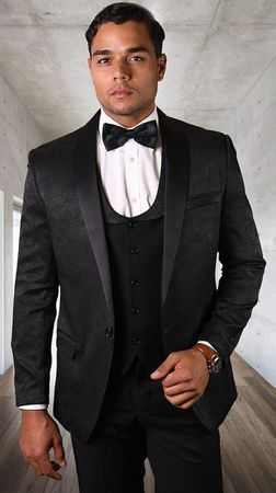 Statement Black 3 Piece Fashion Tuxedo Tailored Fit Look-4